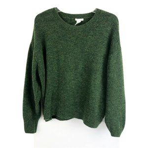 H&M Pullover Crew Neck Sweater Green Solid Soft L